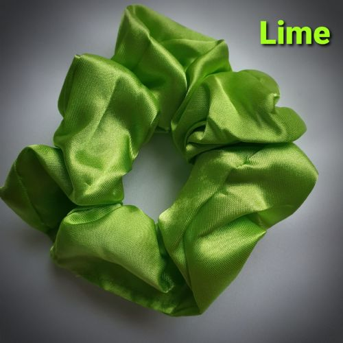 Lime Satin Scrunchie
